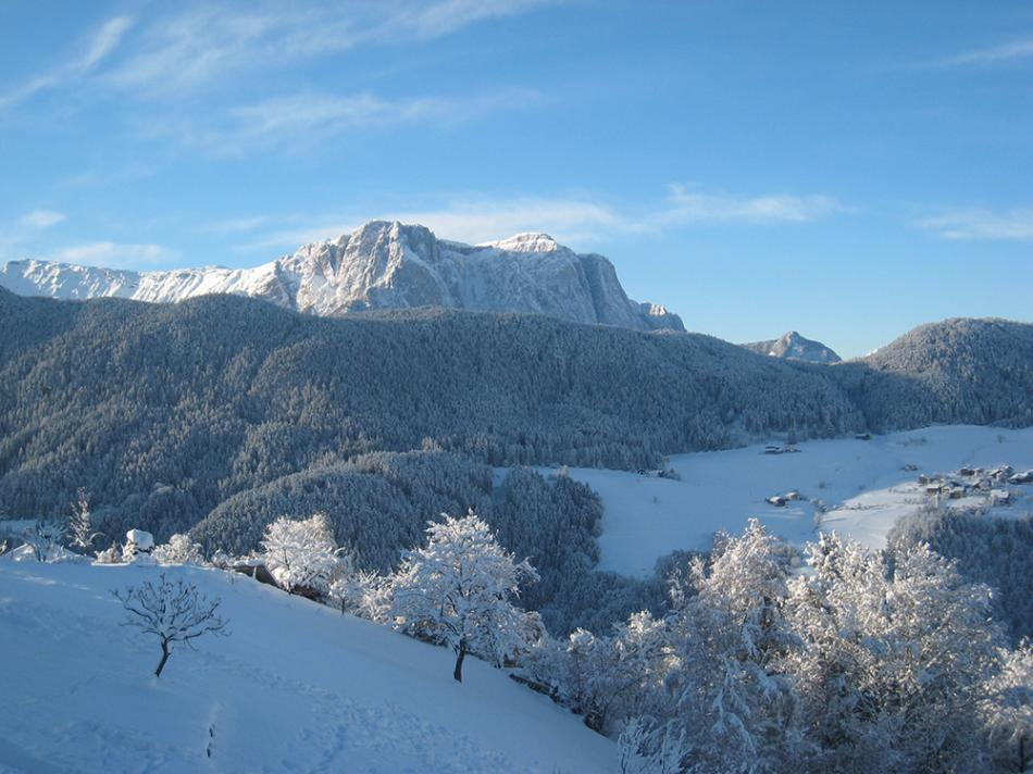 Winter landscape in Laion, Val Gardena