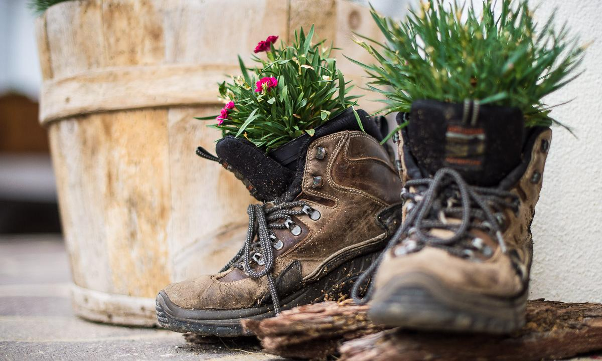 Hiking boots panted with flowers