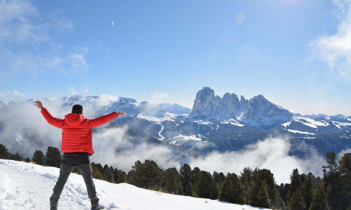 Winter walk in the Dolomites